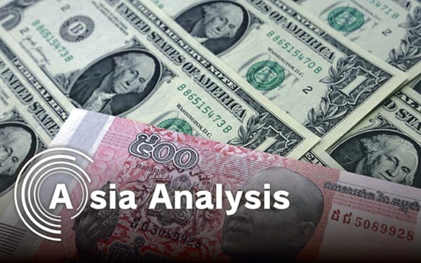 カンボジアは著しい「ドル経済圏」で、自国通貨リエルの流通量は2割に満たない(石井理恵撮影)