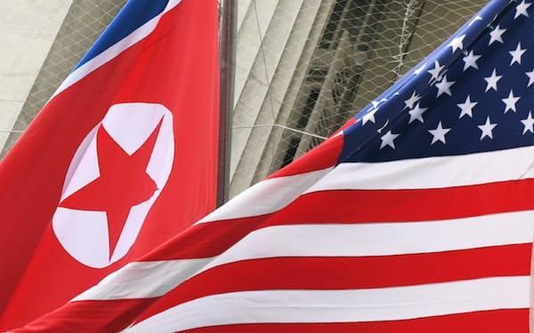 米国と北朝鮮の国旗