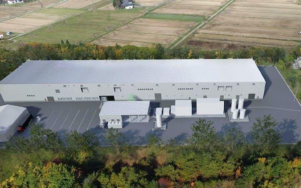 町内の工業団地に整備する電池部品の貸工場(完成予想図)