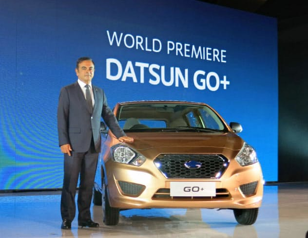 ダットサンはゴーン元会長が新興国向けブランドとして復活させた(2013年9月、ジャカルタで開かれた新車発表会)