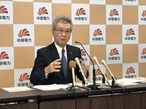 記者会見に応じる中部電力の勝野哲社長(26日、名古屋市)
