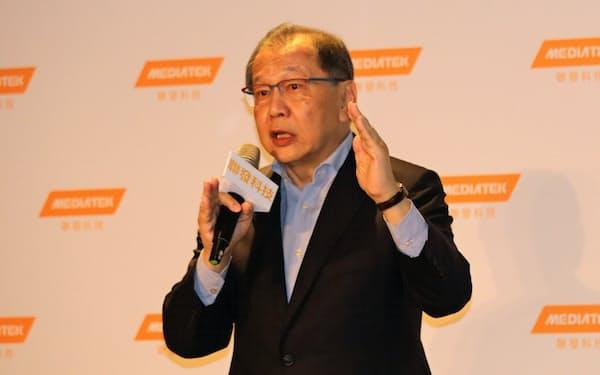 メディアテックの蔡力行CEOは「5G向けで絶対に遅れない」と強調(26日、台北)