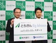 共同記者会見した栃木銀行の黒本淳之介頭取(左)と、ココペリの近藤繁CEO