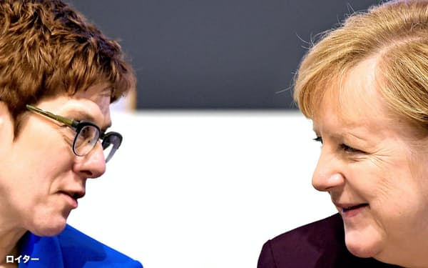 党首交代から1年、CDU党大会に臨んだメルケル首相(右)とクランプカレンバウアー党首=ロイター