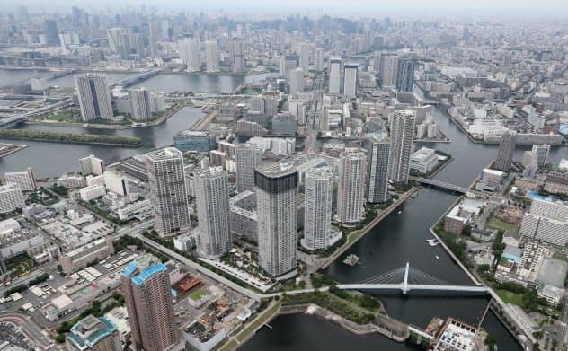 東京都江東区や中央区はマンション開発で人口が急増している(東京・江東)