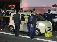 朝比奈久徳容疑者が逃走に使った軽乗用車(27日午後8時4分、京都市)=共同