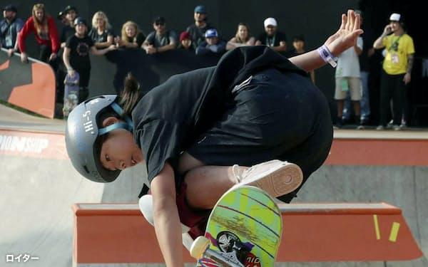 スケートボードの世界選手権、女子パークで優勝した岡本碧優=ロイター