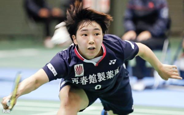 女子シングルス2回戦で勝利した山口茜(28日、駒沢体育館)=共同