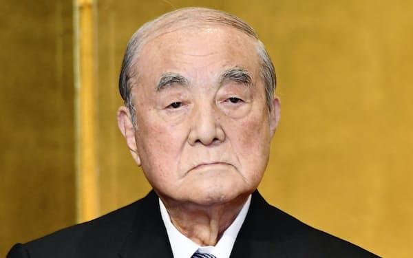 2017年5月、自身の白寿を祝う会に出席した中曽根康弘元首相(東京都千代田区)