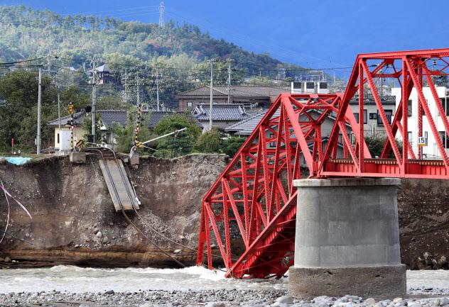 台風19号による豪雨で崩落した千曲川に架かる鉄橋(長野県上田市)