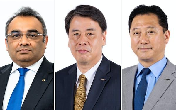 (写真左から)日産自動車のCOO就任が決まったアシュワニ・グプタ氏、社長就任が決まった内田誠専務執行役員、副COO就任が決まった関潤専務執行役員