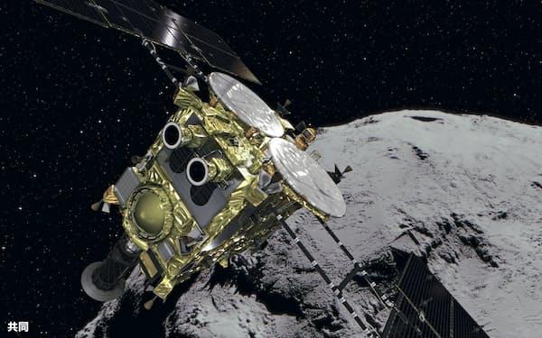 はやぶさ2と小惑星りゅうぐうのイメージ(JAXA提供)=共同