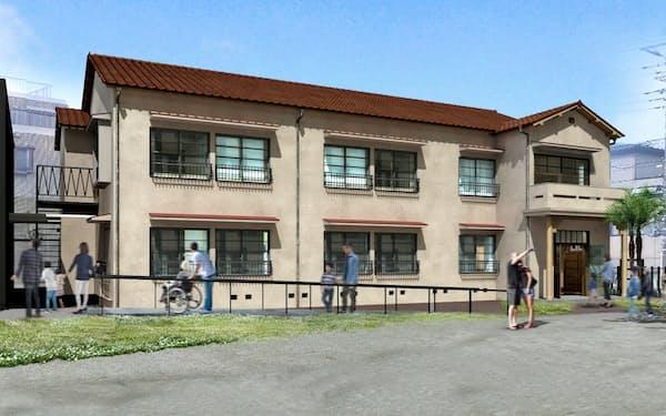 漫画の巨匠たちが青春時代を過ごした伝説のアパート「トキワ荘」の復元予想図(東京都豊島区南長崎)。来年3月22日から公開予定