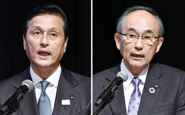 日経2020フォーラムで講演した三菱電機の杉山武史社長(左)と清水建設の井上和幸社長