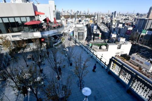 渋谷の街を一望できるルーフトップガーデン「シブニワ」(3日、東京都渋谷区)