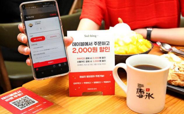 飲食店のQRコード(左)をスマホで読み取ればネイバーペイの決済が完了する=同社提供