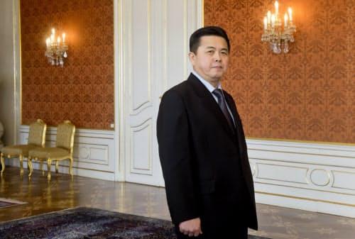 北朝鮮の駐チェコ大使を務めた金平一氏(2015年1月、プラハ)=AP