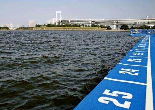 水質悪化でパラトライアスロンのスイムが中止になった(8月、東京・お台場海浜公園)