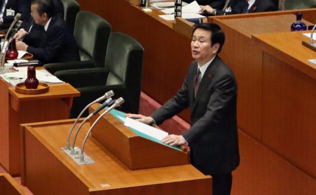 森田健作知事は台風対応の責任を認め自らの給与カットを県議会で表明した(3日、千葉市)