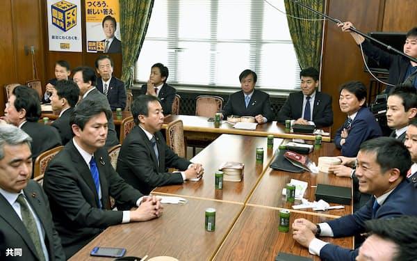 国会内で開かれた国民民主党所属衆院議員の懇談会(12月3日)=共同