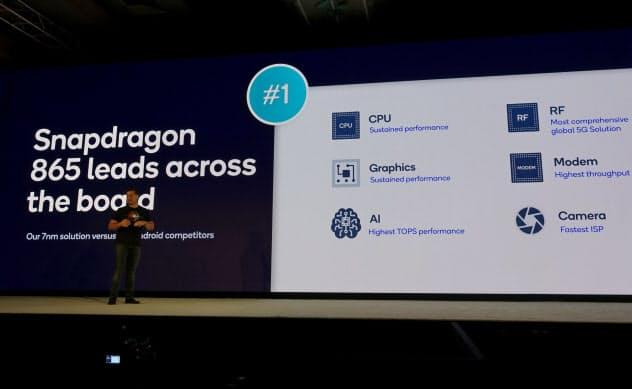 米クアルコムは最新のスマートフォン向け半導体「スナップドラゴン865」を発表した