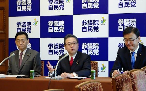 世耕参院幹事長(写真中央)は独自に社会保障改革に関する中間報告をまとめた(3日、国会内)