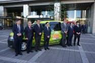 まず18のタクシー事業者が提携した(5日、静岡市)