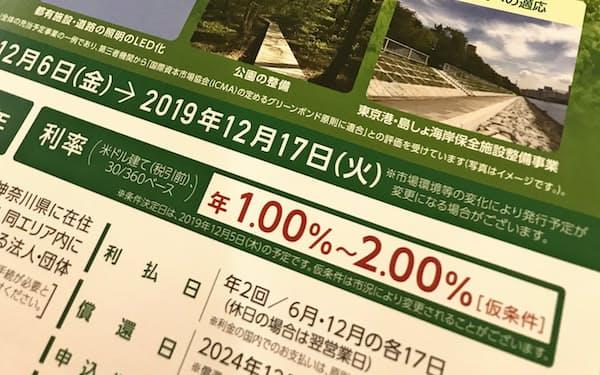 東京グリーンボンドのチラシは証券会社の窓口で配布されている(写真は利率決定前)