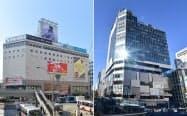取り壊し前のかつての東急プラザ渋谷(写真左、2015年)。写真右は5日に開業した東急プラザ渋谷が入る渋谷フクラス