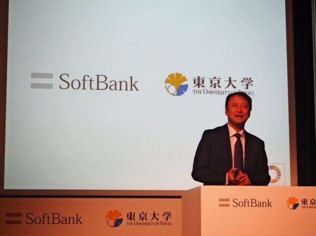 ソフトバンクと東京大学の共同会見で登壇する宮川潤一ソフトバンク代表取締役副社長
