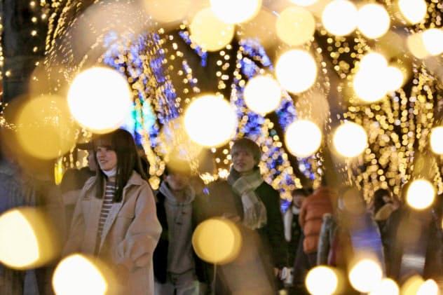 冬の仙台に「光の並木道」