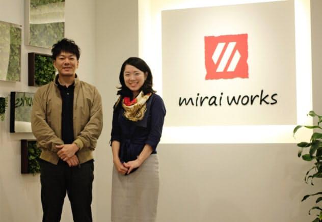 (上)石井まゆみさんはみらいワークスの広報として働く傍ら、(下)副業で「空飛ぶクルマ」の事業化を目指すスカイドライブ(東京・新宿)でも広報として活躍