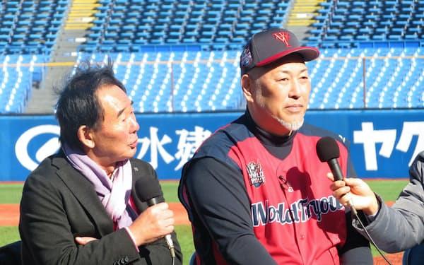 ワールドトライアウトで東尾修氏(左)と対談する清原氏。西武から巨人に移籍した経緯など、秘話が披露された