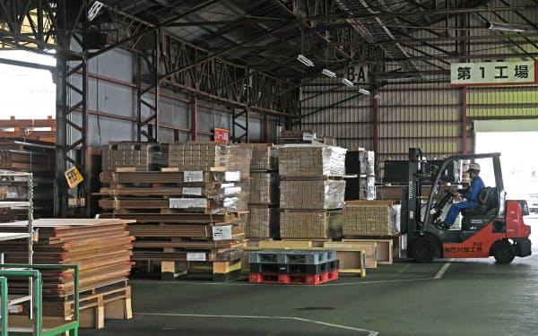 北川木材工業の作業場(静岡市清水区)