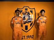 清水エスパルスが2020年シーズンから使用するエンブレムはオレンジ色の面積を倍増させた(10日、静岡市内)
