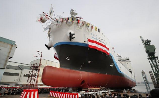 世界初の液化水素運搬船「すいそ ふろんてぃあ」進水式
