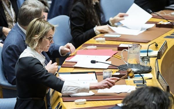 国連の安全保障理事会で議長を務める米国のクラフト国連大使(11日、ニューヨークの国連本部)=国連提供