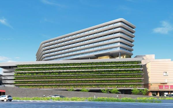 マリオット・ホテルは長崎駅に建設する駅ビルの上層階で開業する予定(写真は完成予想図)