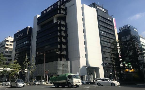 ヒューリックが再開発を計画するルイ・ヴィトン、カルティエなどが入るビル(大阪・心斎橋)