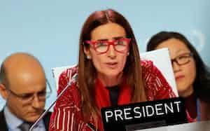 COP25で議長を務めるチリのシュミット環境相=ロイター