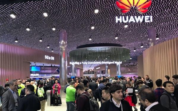 ファーウェイは欧州で5G用の通信機器の受注に力を入れている(2月、スペインの展示会)