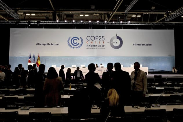 国連気候変動枠組み条約第25回締約国会議(COP25)は新たな成果の乏しいまま閉幕した(15日、スペイン・マドリッド)=AP