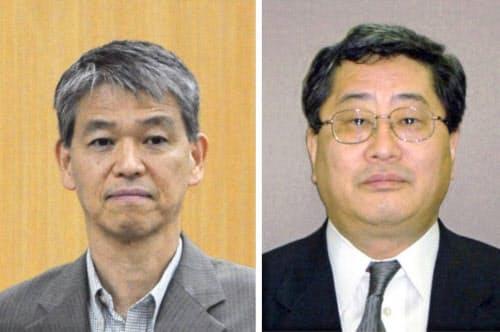 総務次官を辞任した鈴木茂樹氏(左)と日本郵政の鈴木康雄上級副社長=共同