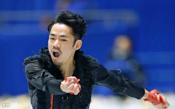 男子SPで演技する高橋大輔。3回転ジャンプの転倒など響いて14位発進となった=共同