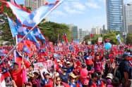21日には国民党・韓氏を支援するデモも開かれた(高雄市内)