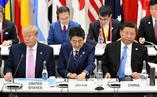 首相が提唱したデータ流通圏はOECDを舞台に交渉が進む(6月のG20大阪サミットの会合でデータ流通について議論する安倍首相)