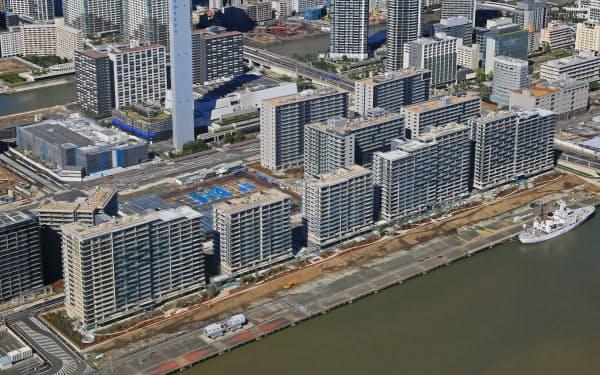 建設が進む東京五輪・パラリンピックの選手村(東京都中央区)