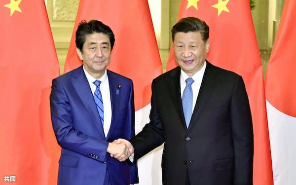 会談を前に握手する安倍首相と中国の習近平国家主席(23日、北京の人民大会堂)=共同