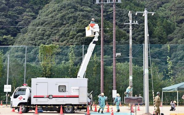 四国電力は高知県内での復旧訓練で部門間の連携を深めた