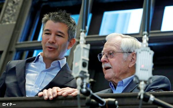ウーバーの上場を見守るカラニック氏(左)(2019年5月、ニューヨーク証券取引所)=ロイター